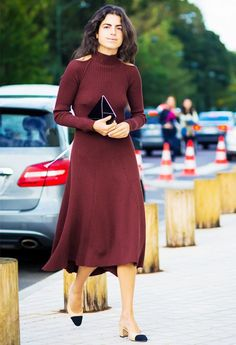 Leandra Medine wears a burgundy Céline midi dress with Chanel slingback heels and an envelope clutch