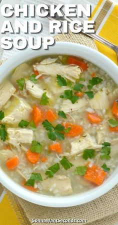 *NEW* Chicken and rice soup is an incredible concoction of taste and texture that comes together easily to feed a crowd with massive layers of wholesome flavor. #ChickenandRice #Soup #ChickenSoup #ComfortFood Easy Soup Recipes, Easy Dinner Recipes, Chili Recipes, Yummy Recipes, Yummy Food, Bowl Of Soup, Soup And Salad, Vegan Lentil Soup, Quick And Easy Soup