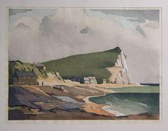 More Eric Slater; this is a woodcut Watercolor Landscape, Landscape Art, Landscape Paintings, Landscapes, Irish Painters, Woodblock Print, Art Forms, Seaford Head, Printmaking