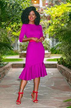 Midi Dress w/ Ruffle Hem (Style Pantry) Fashion Show 2016, Look Fashion, Fashion Photo, Fashion Days, Fashionable Canes, Fur Coat Fashion, Fitted Midi Dress, Dress Skirt, Style Pantry