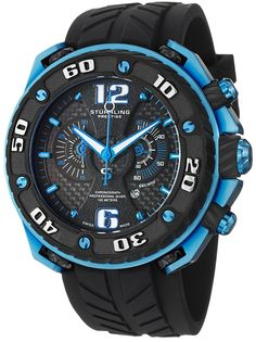 Stuhrling Prestige Men's 322B.332H62 Prestige Maverick Swiss Chronograph Diver Blue Case Rubber Strap Watch