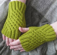 These gauntlets are very simple and quick to knit and will make a good project for a knitter new to cables. Although the cable pattern may seem rather complicated, the actual knitting is quite easy as all the cable crossings on each glove are formed identically. The ribbed pattern is very stretchy and will accommodate most women's hands; however, it can also be easily scaled up by using thicker yarn and needles or by simply adding a few more stitches in 2x2 rib.
