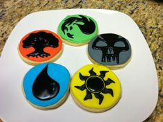 Magic the gathering sugar cookies.  Mana symbols. I made these for my sons birthday.