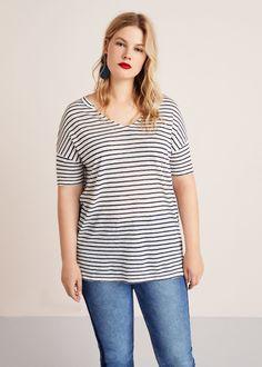 2319ad2a205 Striped linen t-shirt - T-shirts Plus sizes