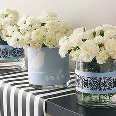 Wrapping paper around vases and candles idea ...