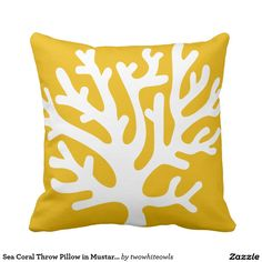 Emvency Throw Pillow Cover Nautical Sea Coral in Yellow and White Living Decorative Pillow Case Home Decor Square 16 x 16 Inch Pillowcase Coral Throw Pillows, Throw Cushions, Throw Pillow Cases, Pillow Covers, Coral Reef Pictures, Cute Home Decor, Decorative Pillow Cases, Custom Pillows, Nursery