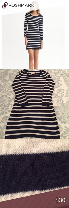 Cashmere Blend Striped Sweater Dress Small Petite A favorite fall and winter staple that I've loved! Fantastic to wear with boots and a scarf. There is some pilling that should be easy to take care of and a very small hole in the front (shown in photos). Pricing reflects the wear and tear. Hopefully someone will love this as much as I have! Made of Italian fabric. 49% nylon, 44% wool, 8% cashmere. Dry clean only. Banana Republic Dresses Long Sleeve