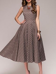 Color: Red Light_green Coffee Size: S M L Xl Collar_&_neckline: Round Neck Dress_silhouette: Flared Length: Midi Material: Polyester Occasion: Basic Casual Pattern_type: Polka Dot Season: Summer Sleeve_length: Sleeveless Style: Elegant Polka Dot Prom Dresses, Striped Maxi Dresses, Dot Dress, Dress Red, Elegant Dresses, Casual Dresses, Fashion Dresses, Cheap Dresses, Women's Dresses