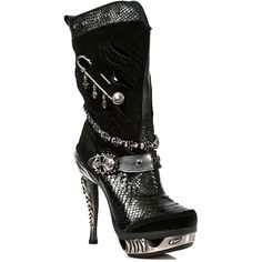 New Rock M.MAG034-S1 Magneto Stiletto Black Boots, Goth Platform ($361) ❤ liked on Polyvore featuring shoes, boots, platform stilettos, stiletto boots, rock boots, goth boots and gothic platform boots