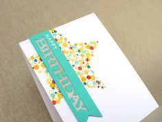 Confetti Cluster Birthday Card Close Up - fabulous video tutorial showing how to make a stunning card like this.