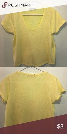 Cotton On Pastel Yellow V-Neck Crop T-Shirt Pastel yellow v-neck crop top from Cotton On. Very soft material and very flattering on! Cotton On Tops Crop Tops
