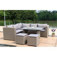 Elegant Tara Dining Lounge Zebra M bel Gartenm bel inkl Kissen Armlehne links Halbrundgeflecht in Farbe basalt grey Kissen in