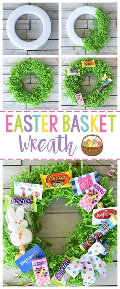 Creative and Fun Easter Basket Ideas-Think outside the traditional Easter basket this year and try this creative Easter basket idea-an Easter basket wreath! Easter Projects, Easter Crafts For Kids, Easter Stuff, Bunny Crafts, Easter Party, Easter Gift, Easter Table, Diy Easter Decorations, Easter Centerpiece
