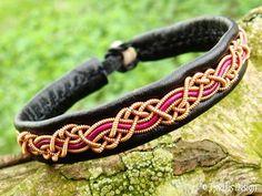 HUGINN Sami Viking Bracelet in Black and Magenta Leather, Copper Wire