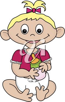 Royalty Free Clipart Image of a Little Girl Holding a Bottle