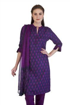 MB Women's Indian Kurta Tunic with Floral Paisley Print, Matching Dupatta and Churidar