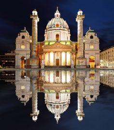 Reflections of St. Charles's Church in Karlsplatz ~ Vienna, Austria