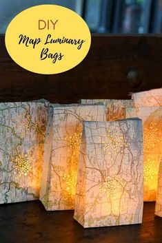 How to upcycle old road maps into these lovely map luminary bags with remote controlled tea lights. New Interior Design, Beautiful Interior Design, Stylish Home Decor, Cheap Home Decor, Road Maps, Diy Party Decorations, Diy Wreath, Tea Lights, Diy Gifts
