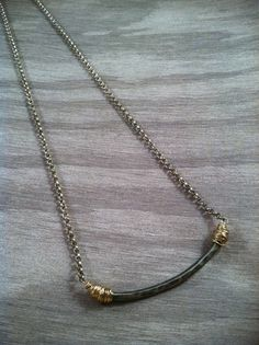 Small hammered bar necklace by lovelightjewelry on Etsy