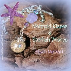 Mermaid kisses and Starfish Wishes Ocean Bulb Necklace with Seaglass by MysticMermaidCove on Etsy Mermaid Quotes, Mermaid Kisses, Starfish, Sea Glass, Wish, Christmas Bulbs, Ocean, Make It Yourself, Holiday Decor
