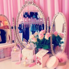 Girly videos for my cuties! Princess Room, Pink Princess, My New Room, My Room, Pink Love, Pretty In Pink, Makeup Storage, Makeup Organization, Kawaii Room