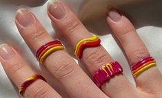 Fimo Ring, Polymer Clay Ring, Diy Clay Rings, Yellow Nails Design, Nail Ring, Cute Clay, Funky Jewelry, Clay Creations, Clay Crafts