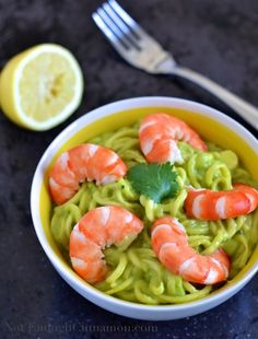 A recipe for zucchini pasta with creamy avocado sauce and shrimp, made with a neat little kitchen gadget that turns raw veggies into the noodle-shaped yumminess of your choice.