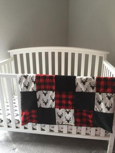 Items similar to HELLO BEAR DEER stag buck & red Plaid and black minky dot baby blanket with fitted crib sheet on Etsy Baby Bedroom, Baby Boy Rooms, Baby Boy Nurseries, Nursery Room, Nursery Ideas, Western Crib, Rustic Baby Rooms, Baby Lane, Crib Bedding Boy