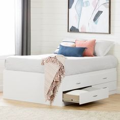 Sophisticated StyleThis sophisticated captain bed will be the focal point for any bedroom. The bed's clean, high quality and modern design features elegant metallic metal handles and rounded corners for increased safety, making it ideal for any bedroom.Economical and VersatileFeaturing plenty of storage for clothes, bedding or seasonal items, this mates bed has 4 convenient drawers with smooth opening metal slides. All 4 drawers are on the same side of the bed frame, which is Full Size Storage Bed, Bed Frame With Storage, Bed Storage, Full Size Beds, Bedroom Storage, Beds With Storage Drawers, Bed Frame With Drawers, Smart Storage, Platform Bed With Drawers