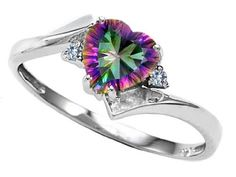 cttw Tommaso Design(tm) Genuine Heart Shape Mystic Topaz and Two Diamonds bypass Ring in 10 kt White Gold Size 6 I Love Jewelry, Jewelry Rings, Jewelry Accessories, Jewlery, Rainbow Topaz, We Will Rock You, Topaz Jewelry, Mystique, To Infinity And Beyond