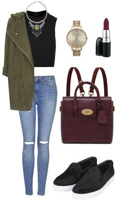 Untitled #69 by kokoplatt featuring Topshop Topshop crop top / Topshop jacket / Topshop jeans / Topshop shoes / Mulberry travel bag / Topshop watch, $150 / Topshop necklace / MAC Cosmetics matte...