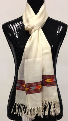 b3fe0c2020 Himachal wool scarf - Off White | Sarang Casual Attire, Wool Scarf, Off  White