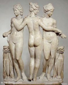 "Title: ""Les Trois Grâces""  Class: Free-standing statue   Material: Marble  Height: 1.19 metres   Context: Found in the Villa Cornovaglia in Rome  Original / Copy: Roman copy of Greek statue C2nd BC"