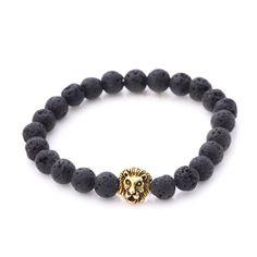 Fashion Natural Agate Bracelet Lava Volcanic Stone Lion Head Buddha Beads in Jewelry & Watches, Fashion Jewelry, Bracelets Lion Bracelet, Tiger Eye Bracelet, Bracelet Men, Bracelets For Men, Fashion Bracelets, Black Buddha, Buddha Beads, Beaded Necklace, Beaded Bracelets