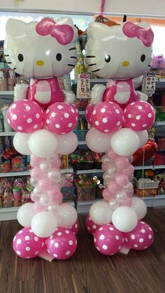 Balloon Column Hello kitty balloons, my daughter is having a birthday party in November. Kitty Party, Hello Kitty Theme Party, Hello Kitty Themes, Balloon Columns, Balloon Arch, Balloon Tower, Balloon Ideas, Balloon Bouquet, 1st Birthday Parties