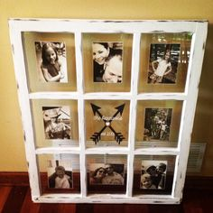 Beautiful Distressed Old Window Frame - 9 panes - Wedding - Anniversary - Graduation - Gift - Customize