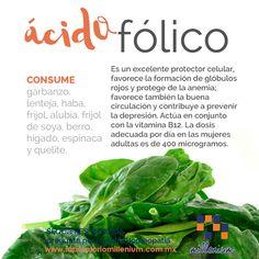 Qué es eso del ácido fólico? No sólo las embarazadas lo requieren.  #conoceloquecomes