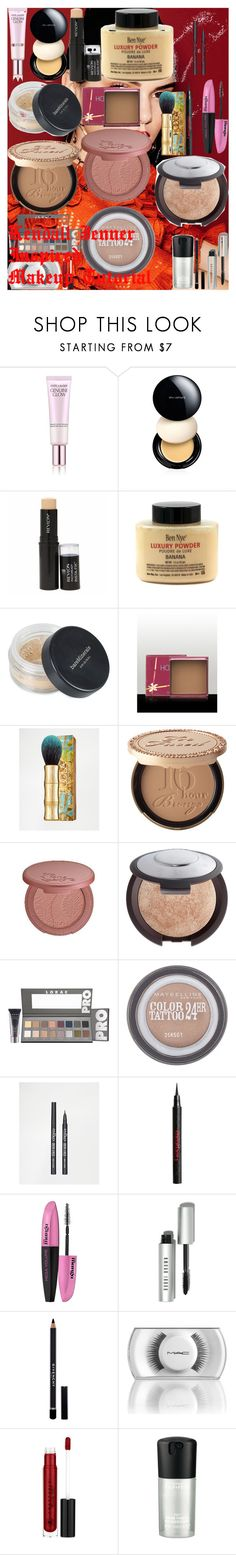 """Kendall Jenner Inspired Makeup Tutorial"" by oroartye-1 on Polyvore featuring beauty, Estée Lauder, shu uemura, Revlon, Bare Escentuals, Benefit, Too Faced Cosmetics, tarte, Becca and LORAC"