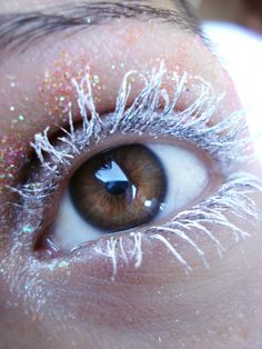 White eyelashes, beautiful brown eyes