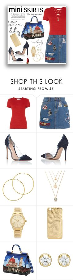 """Mini Skirt"" by gailermels ❤ liked on Polyvore featuring HUGO, Marc Jacobs, Gianvito Rossi, Melissa Odabash, Michael Kors, Mela Loves London, Dolce&Gabbana, Hoorsenbuhs and Lancôme"