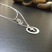 Tiny Cross Sterling Silver Necklace, Two strands - $18
