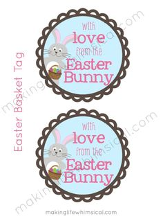 FREE Printable Easter Basket Tag- With Love from The Easter Bunny!