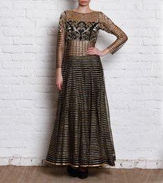 Black & Gold Net Anarkali Gown