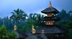 The spires of a temple in the Pura Besakih complex - Bali