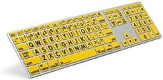 Black on Yellow Large Print Keyboard for Mac