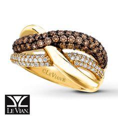Jared Jewelers Chocolate Diamonds | LeVian Chocolate Diamonds 1 1/6 ct tw Ring 14K Honey Gold