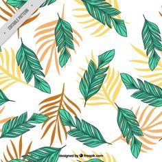Patrón de hojas de palmera dibujadas a mano Vector Gratis