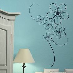 Elegant Flower Floral Wall Transfer / Vinyl Wall Decal / Flower Wall Sticker X43 | eBay