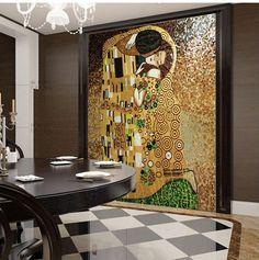 Encontrar Más Mosaicos Información acerca de El beso de Gustav klimt, Hand Made Glass Mosaic Art Mural decoración, alta calidad foto mural, China mural de la etiqueta Proveedores, barato arte de la pared mural de Home & Hospitality Solutions en Aliexpress.com