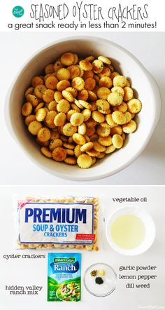 seasoned oyster crackers...don't worry there are no oysters involved! :) just crackers and some great seasonings are all that's needed to make this amazing snack that is ready in less than 2 minutes. my kids (and i) love these!!! it's the perfect salty snack i can make at home. | www.livecrafteat.com